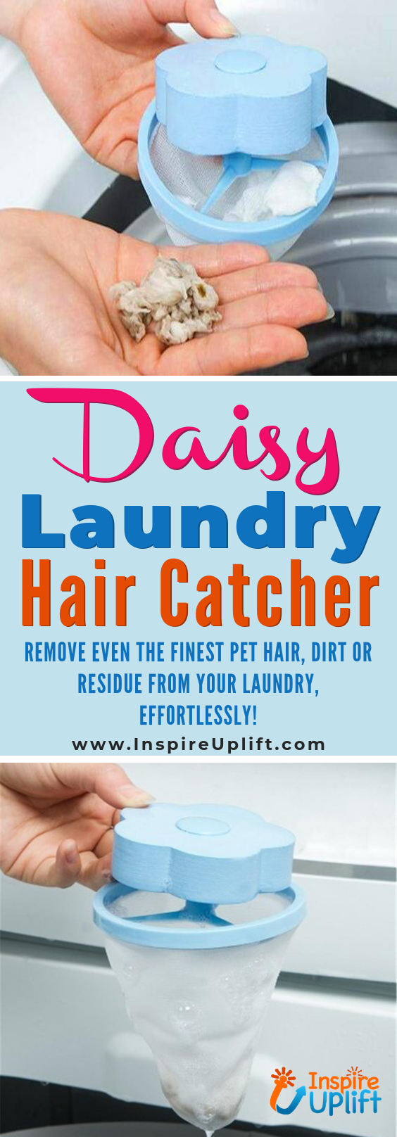 Simply Toss The Daisy Laundry Hair Catcher Into Your Washing