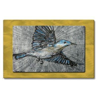 All My Walls 'Buhbye Bluebird' by Christina Loraine Painting Print Plaque