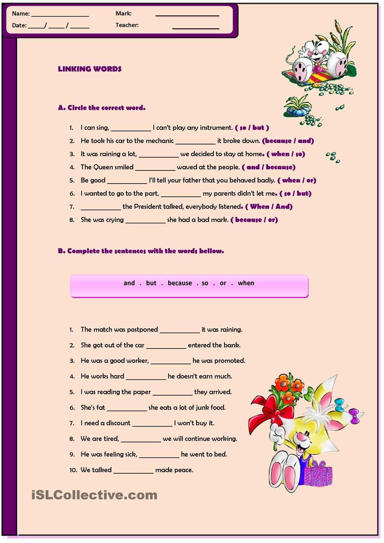 Linking Words Worksheet   Linking words [ 1440 x 1018 Pixel ]
