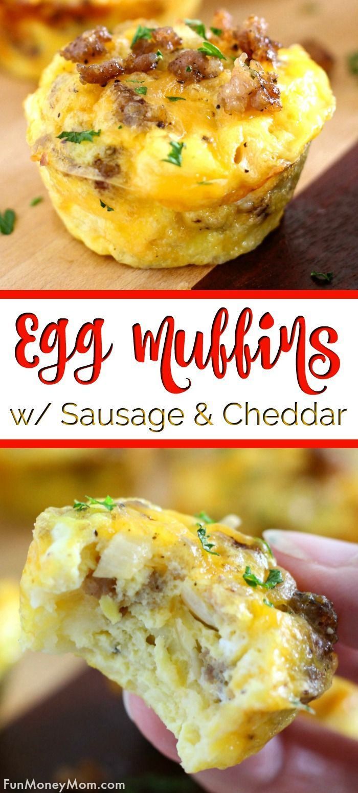 Mini Egg Muffins With Sausage And Cheddar | Fun Money Mom