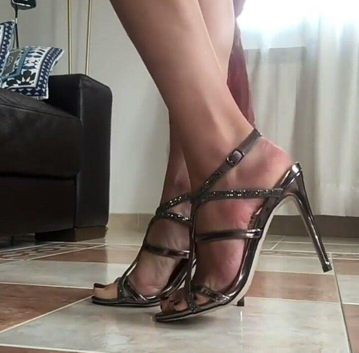 e2a1b68bed469 Strappy sandals and pretty feet in nylon. Find this Pin and more on Pretty  Shoes ...