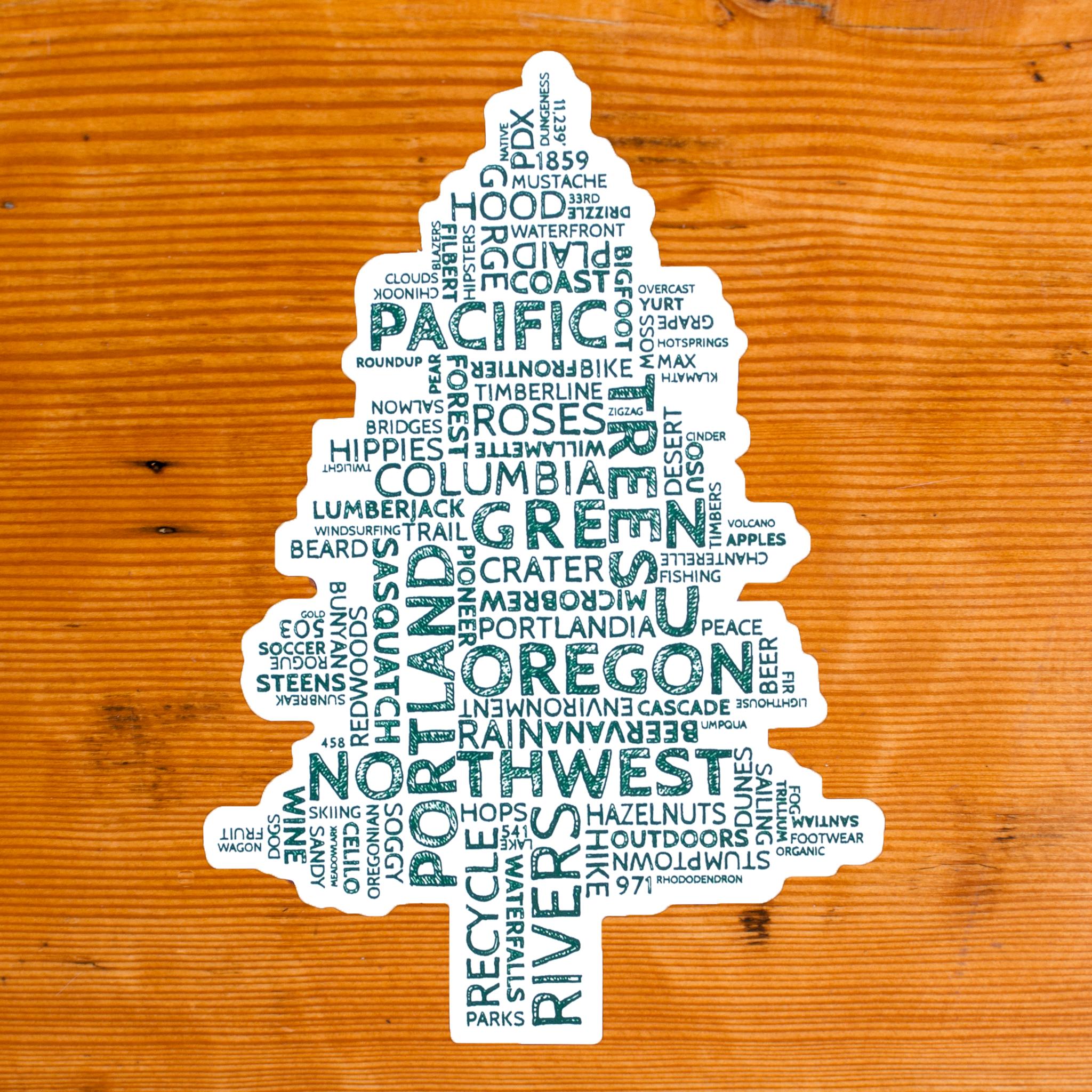 Oregon Word Tree Sticker Tree Stickers Fun Stickers Stickers [ 2048 x 2048 Pixel ]
