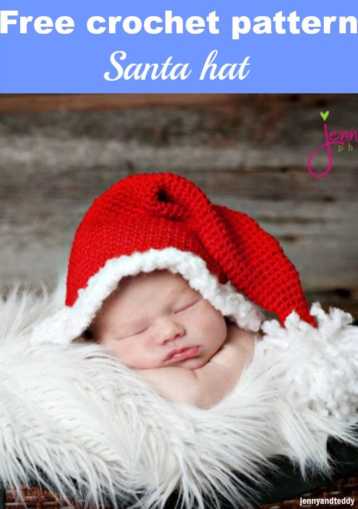 santa hat free crochet pattern | CrochetHolic - HilariaFina | Pinterest
