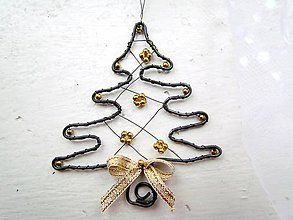 Dekorácie - zlatý stromček - 7241790_