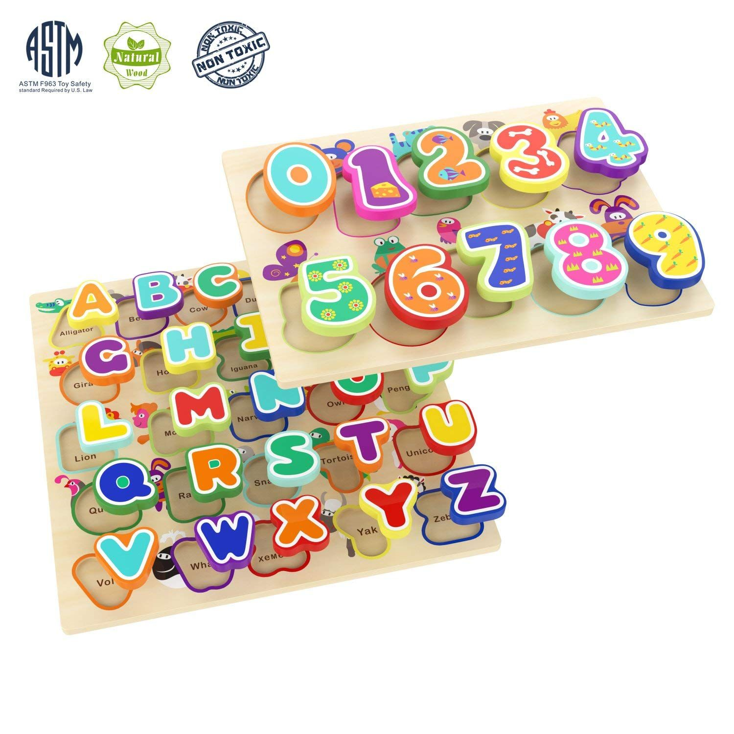 Amazon : Pack of 2 Alphabet Number Board Toys Just $11.99 ...