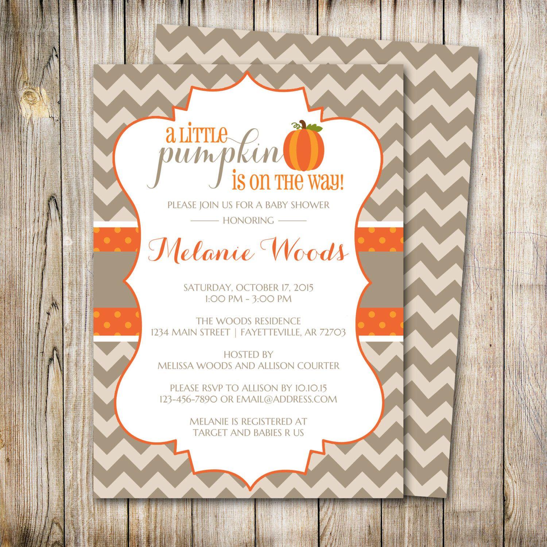 Pumpkin Baby Shower Invitation, Baby Shower Invite, Pumpkin ...