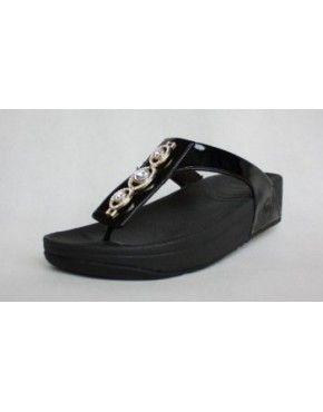 Womens FitFlop Pietra Black Sandals