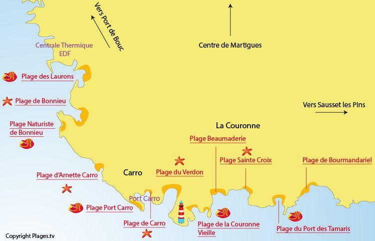 Carte Des Plages De La Couronne Martigues Avec Images
