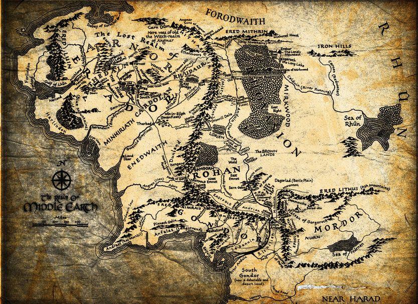 Der Herr Der Ringe Karte Jrr Tolkien Mittelerde Mittelerde