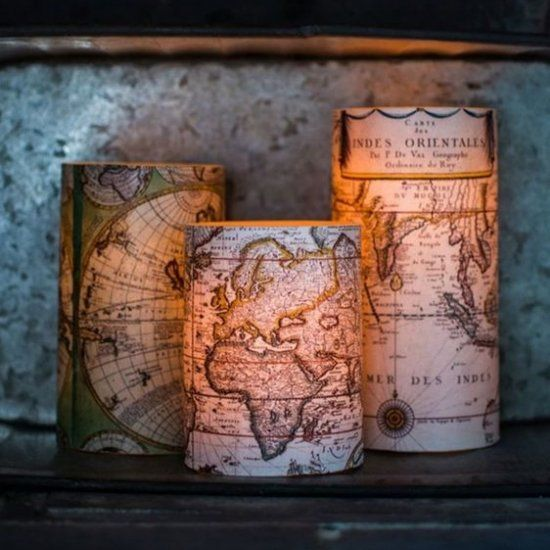 Give those plain battery-operated candles a beautiful face lift using antique map prints! Hop over and get your free map printables!