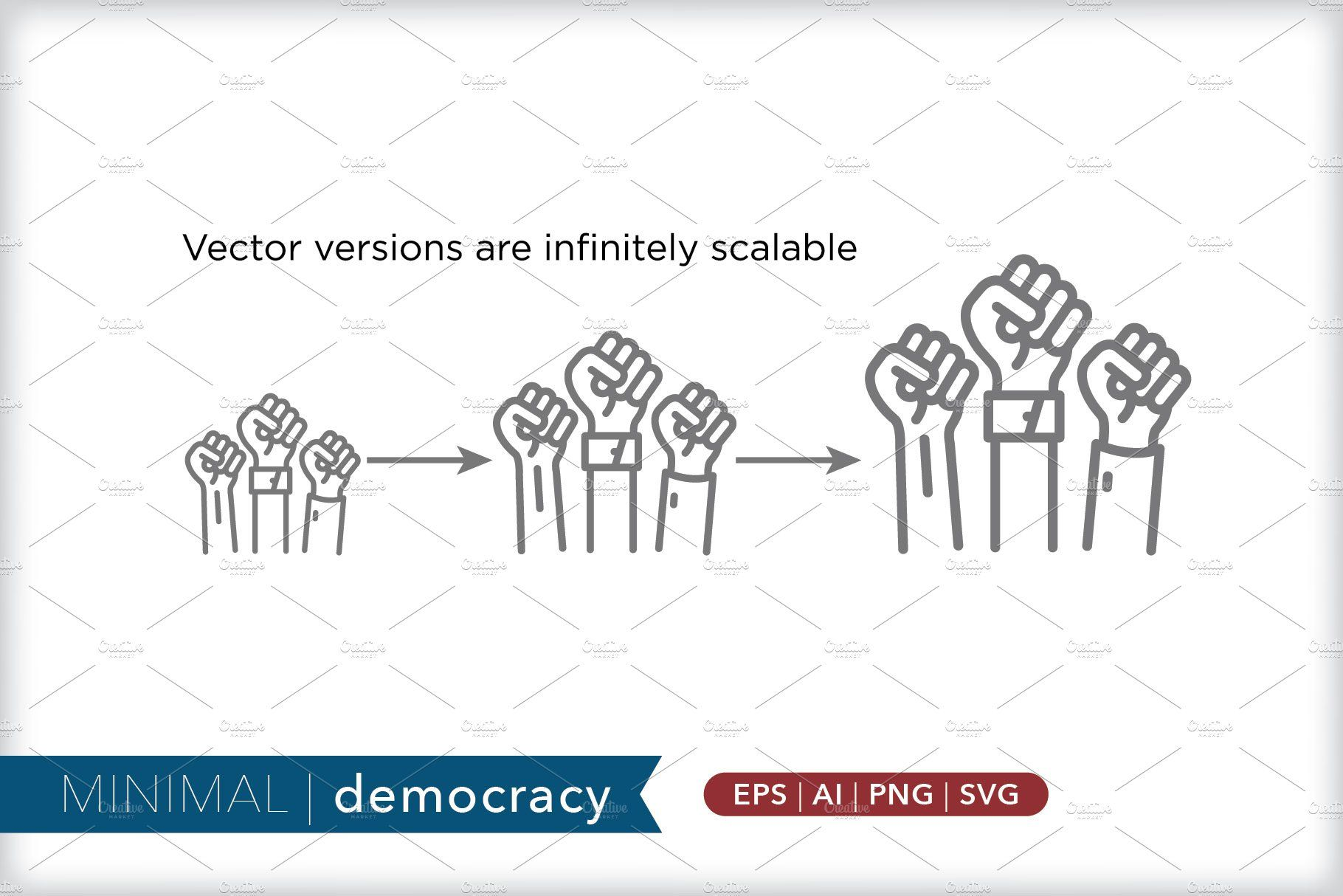 Minimal democracy icons Icon, Social media images