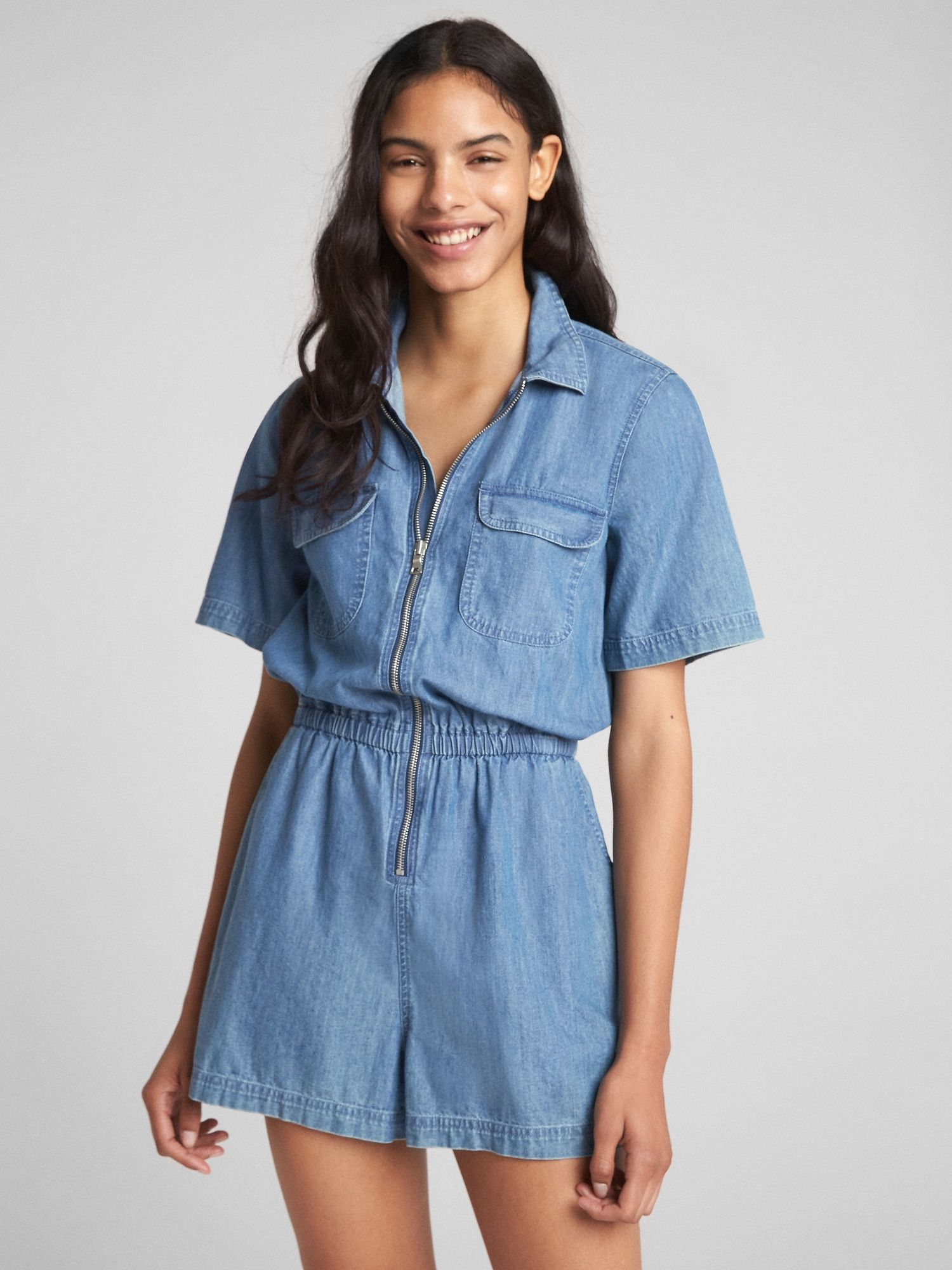 4ca5c2fbf252 Short Sleeve Zip Denim Romper in 2018