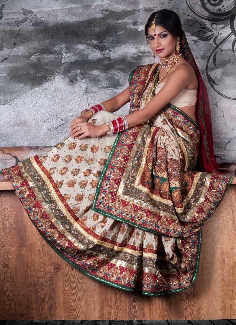 Red and White Sari