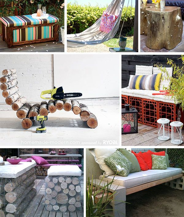 A collage of images featuring DIY Outdoor Furniture