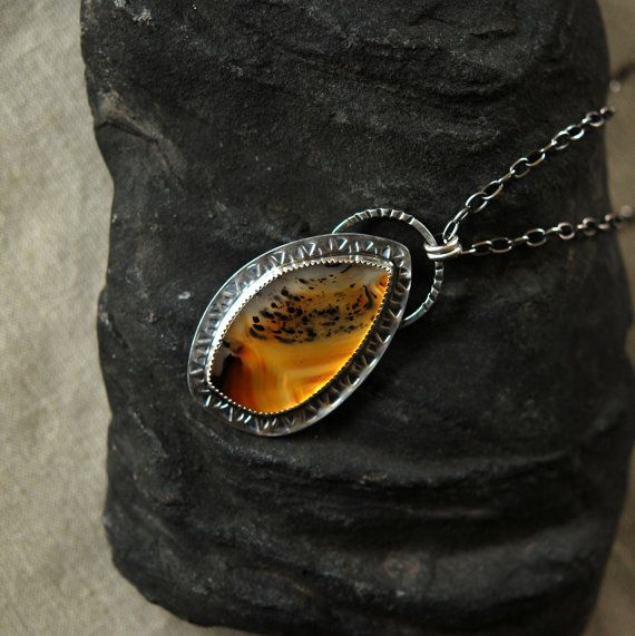 Unusual Necklace Gift for Women Natural Agate Gemstone Necklace Agate Stone Pendant Necklace Hand Cut Montana Agate Copper Necklace Gift
