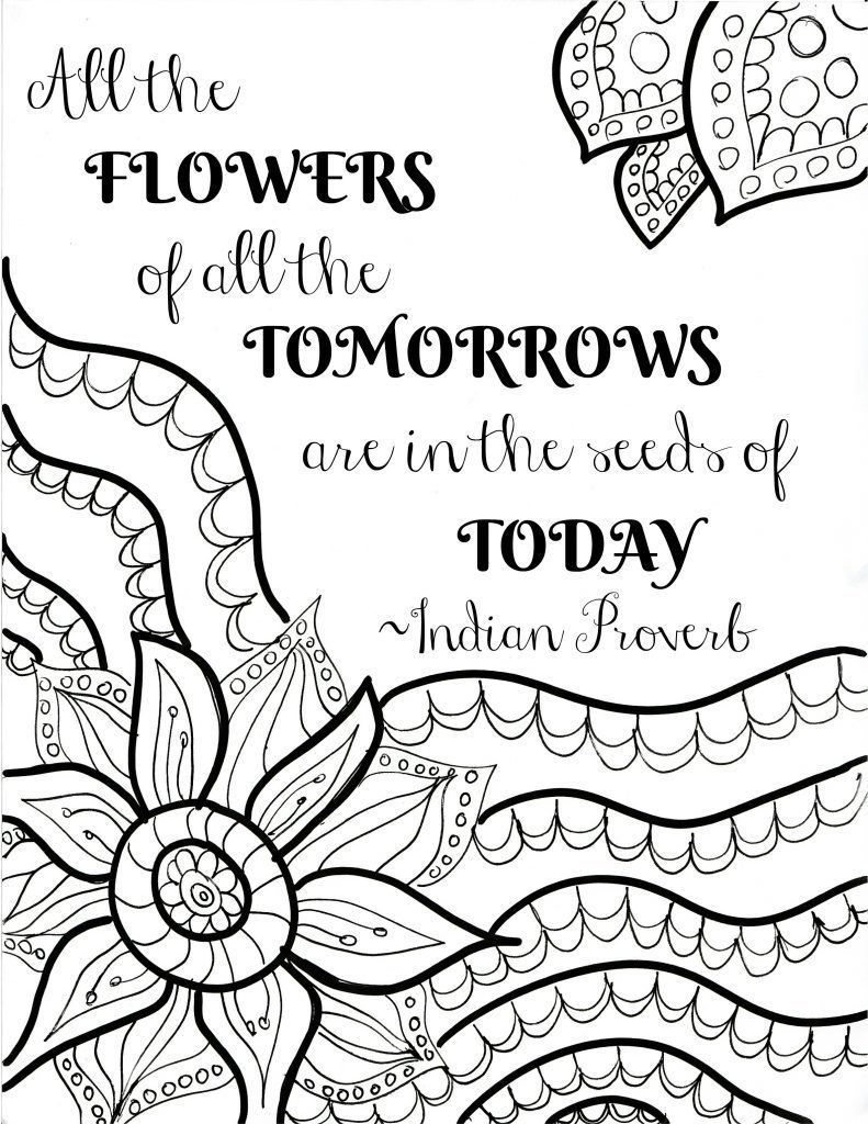 550 Flower Coloring Pages With Quotes Images & Pictures In HD