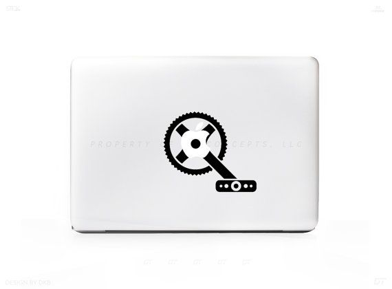 Bike Pedal Gear Sticker Decal for Mac PC Laptops - Many Sizes Available - 15+ Colors
