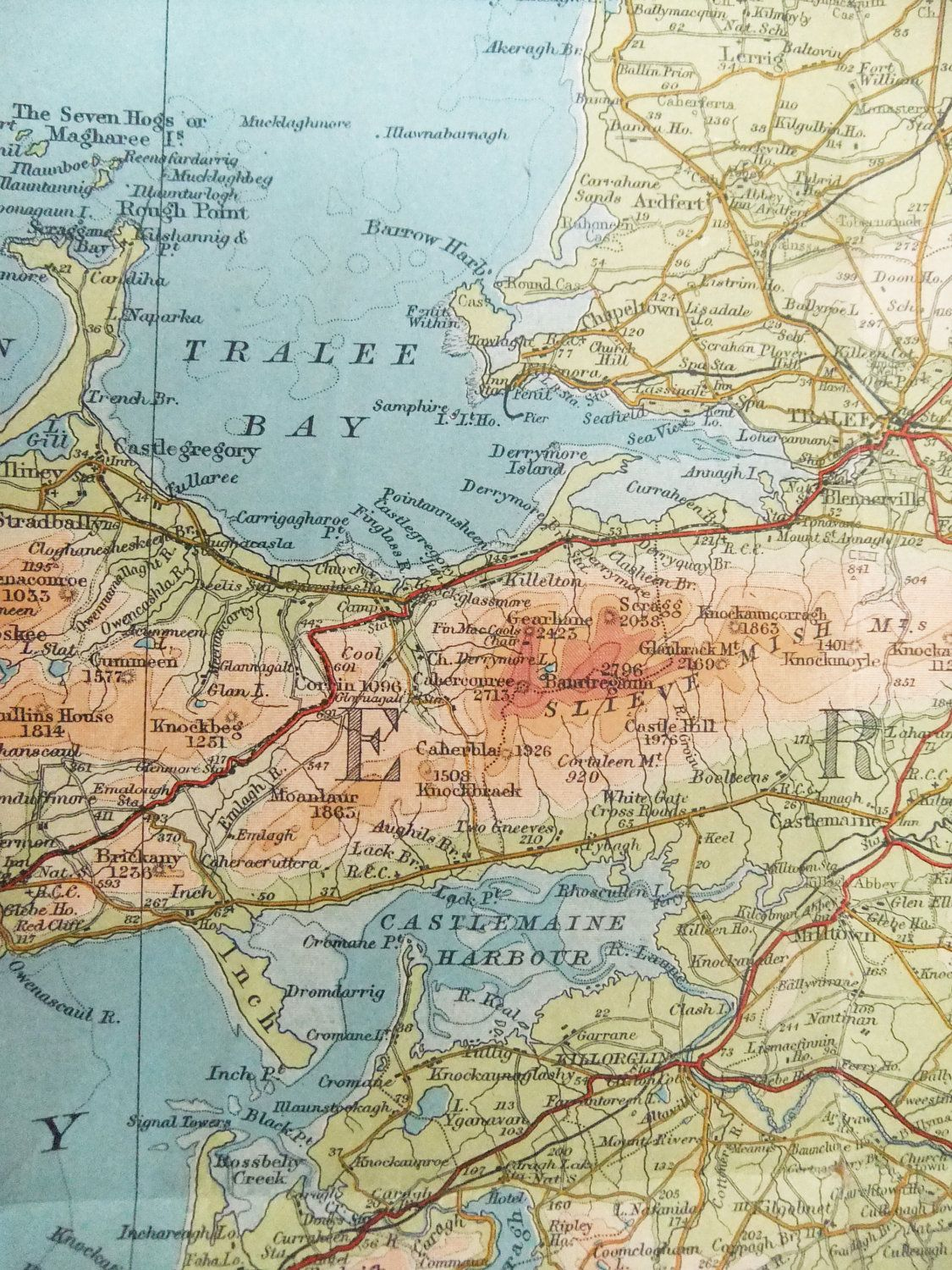 Killarney and Cork District   Old Map of Ireland showing Killarney     Killarney and Cork District   Old Map of Ireland showing Killarney and Cork  District