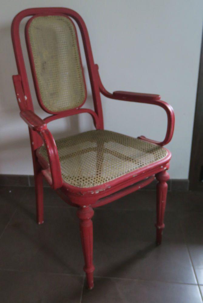 superbe fauteuil ancien bois recourb et cannage d poque art nouveau fin 19 me fauteuil. Black Bedroom Furniture Sets. Home Design Ideas