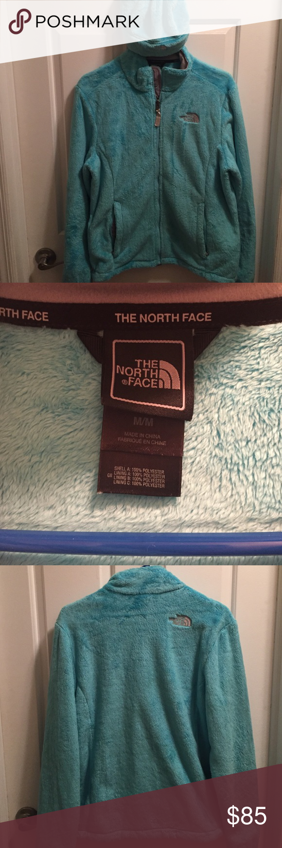 The North Face Fuzzy Blue Jacket The North Face fuzzy blue jacket and matching hat! Wore the jacket one time, never wore the hat! No marks or tears or anything! Excellent condition! Size Medium jacket! North Face Jackets & Coats