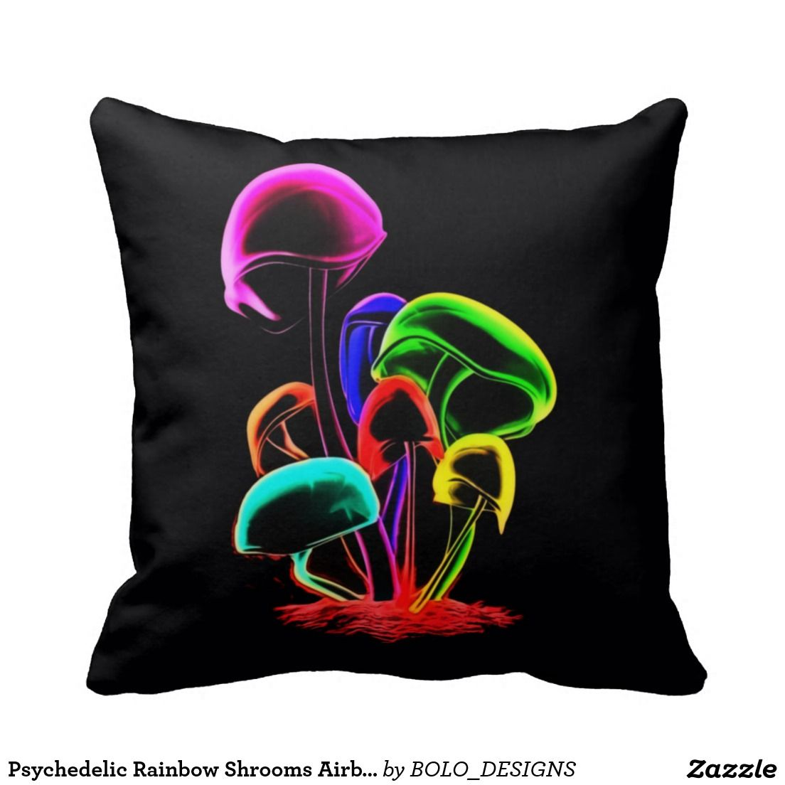Psychedelic Rainbow Shrooms Airbrush Art Pillow