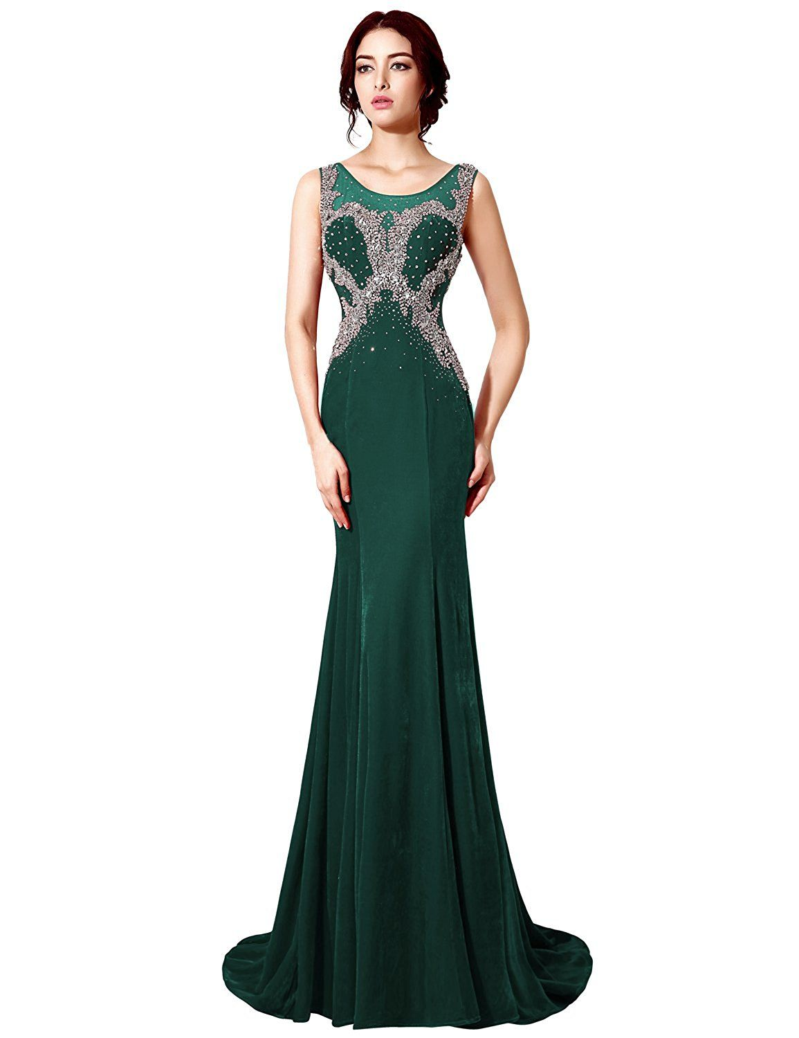 Clearbridal womenus long sleeve crystal sequins prom dress evening