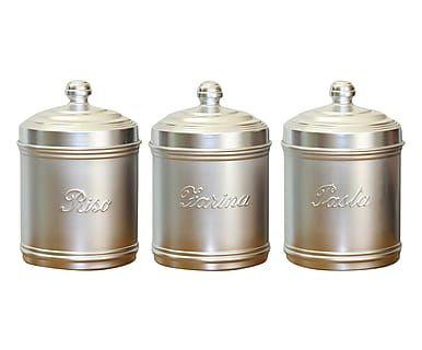 Set contenitore farina, pasta, riso in alluminio argento - 20x13 cm
