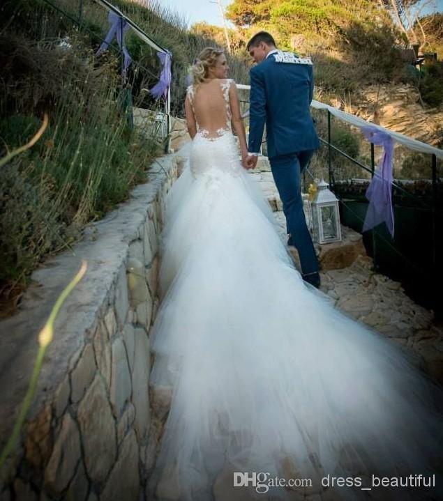 Fashion Long Train Tulle Fashion Sexy Backless Wedding Dresses Memaid Wedding Gowns Spaghetti Sweetheart Applique Beaded Bridal Dresses