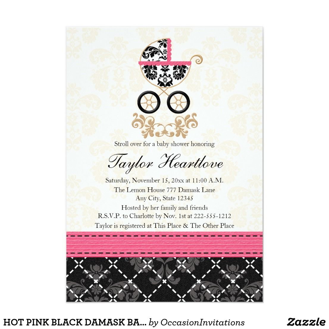 Hot pink black damask baby carriage baby shower card | Shower ...