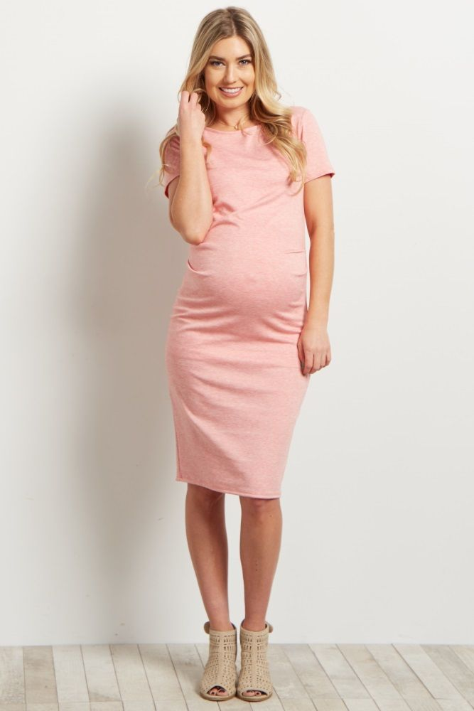0726f69c7ff Pink Short Sleeve Fitted Maternity Dress