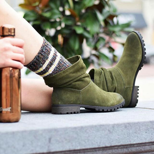 Green olive boots