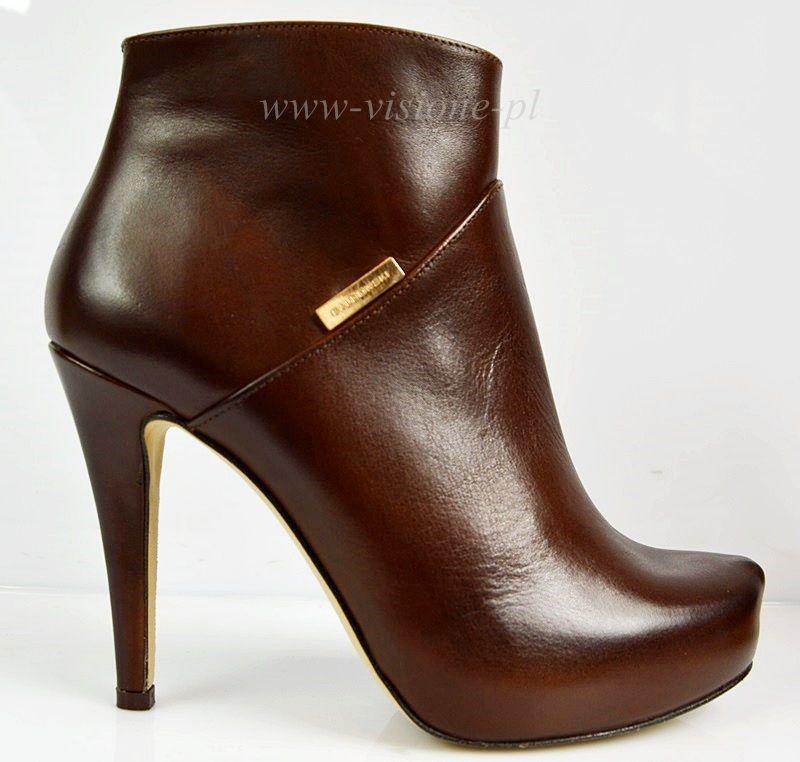 Baldowski Brazowe Skora Botki Platforma Logo 572 4816847614 Oficjalne Archiwum Allegro Shoes Boots Heels
