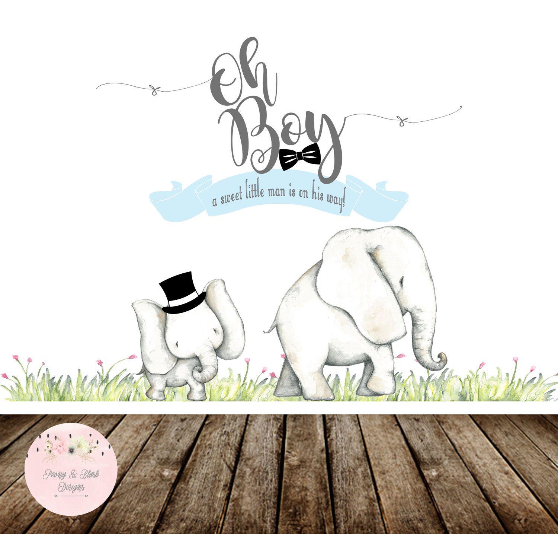 Oh Boy Backdrop, Oh Boy Elephant Baby Shower Backdrop, Little