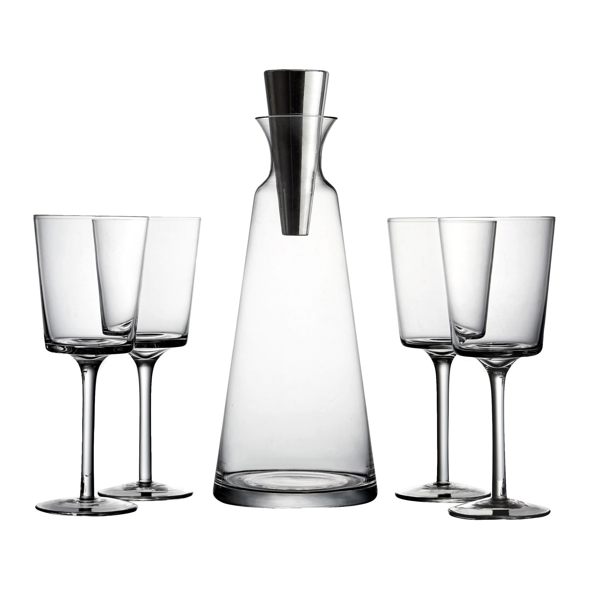 Lincoln Pyramid 5 Piece Wine and Decanter Set
