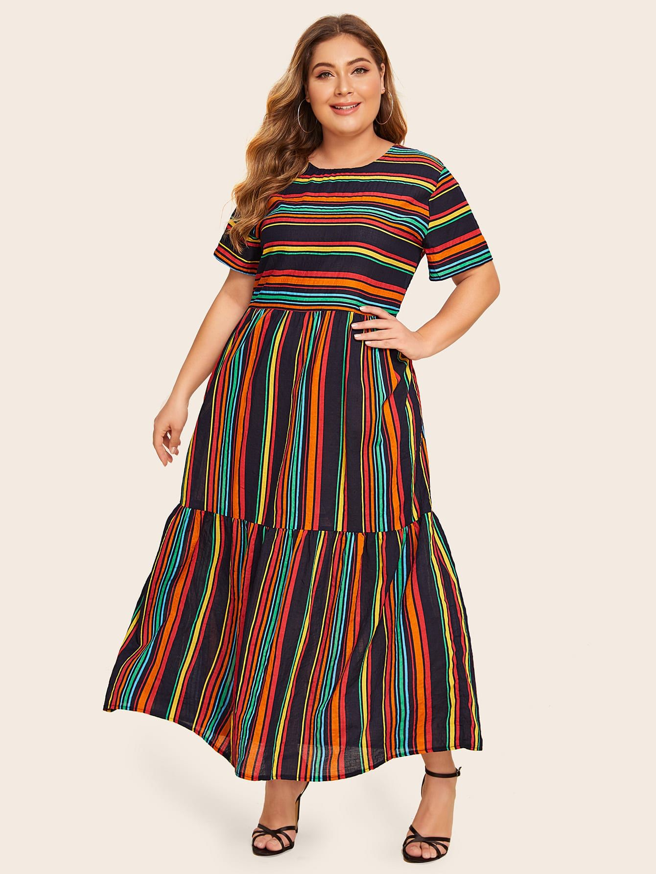 Plus Rainbow Striped Maxi Dress Check Out This Plus Rainbow Striped Maxi Dress On Shein And Explore More To Striped Maxi Dresses Maxi Dress Long Striped Dress [ 1785 x 1340 Pixel ]