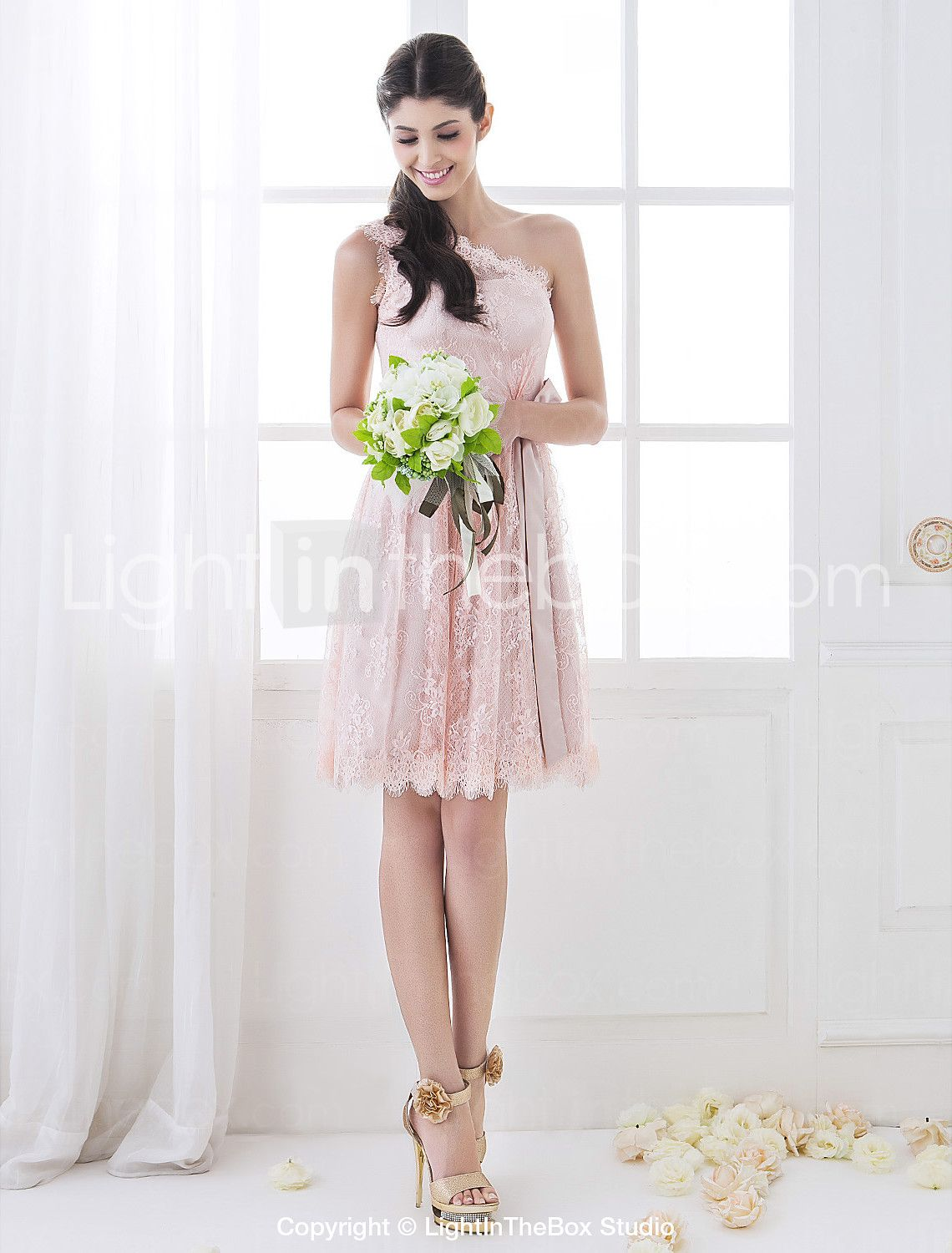 Aline one shoulder knee length lace bridesmaid dress with sash