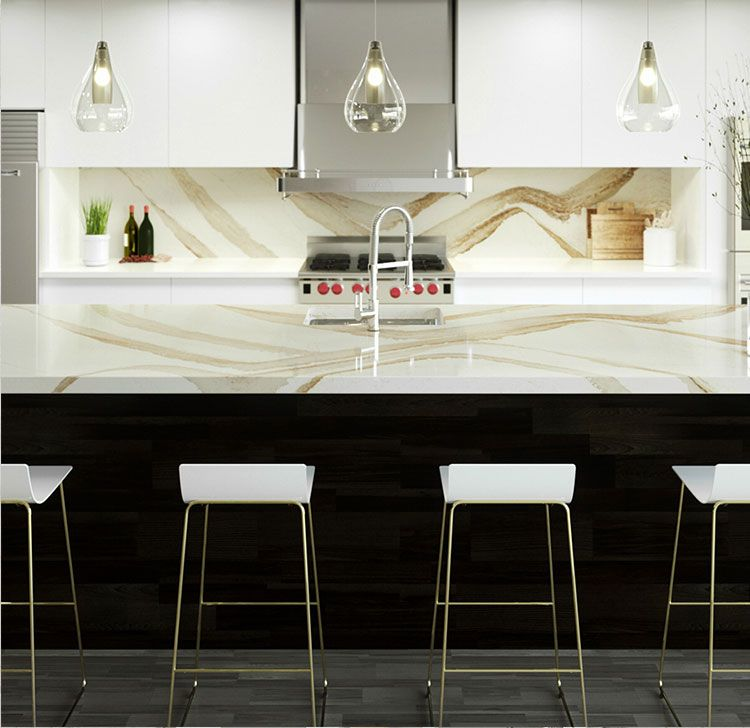 Quartz Kitchen Ideas: Cambria's Brittanicca Gold™ Countertop And Backsplash, In