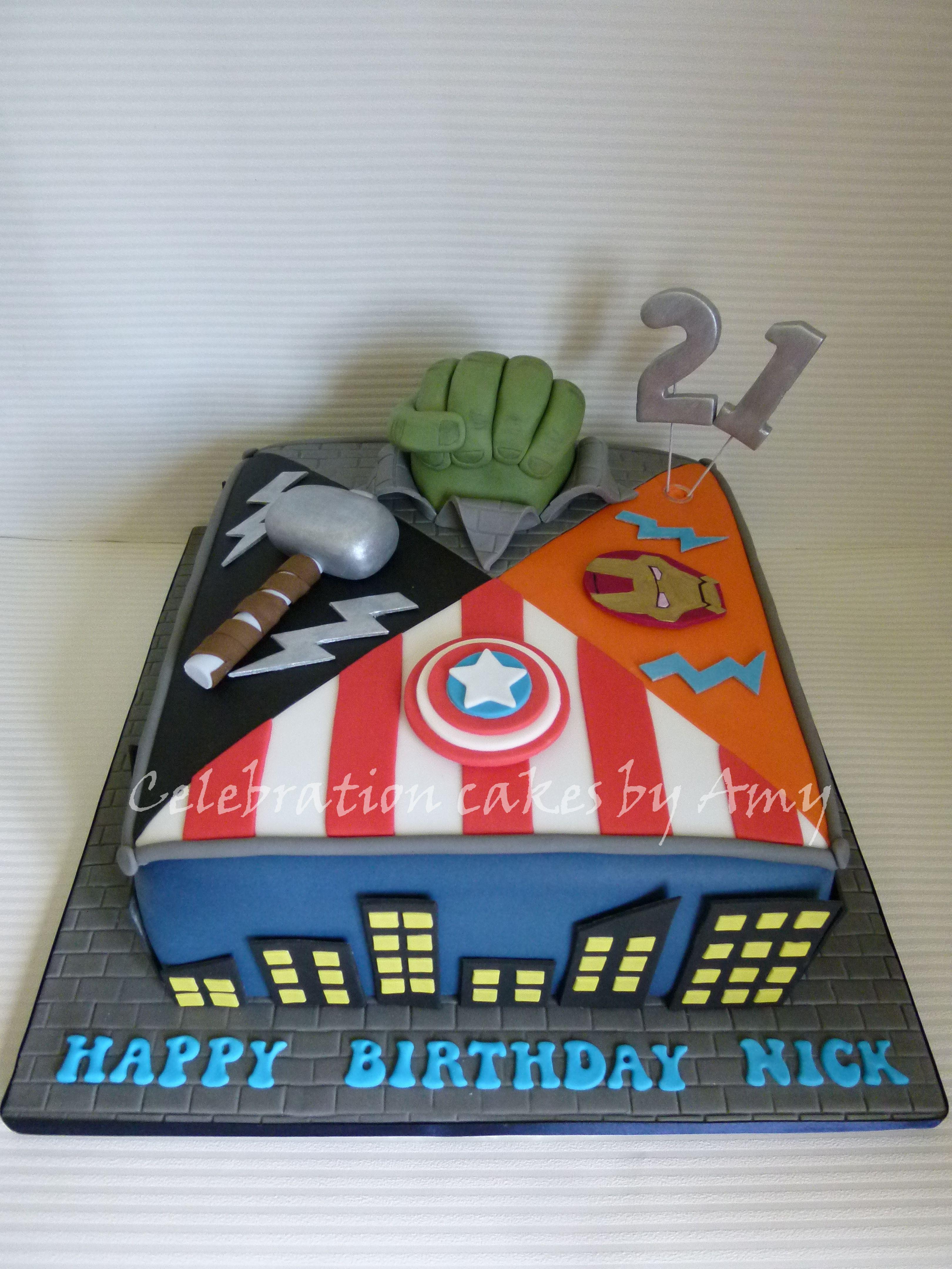 Phenomenal Avengers 21St Birthday Cake With Images Avengers Birthday Funny Birthday Cards Online Aboleapandamsfinfo