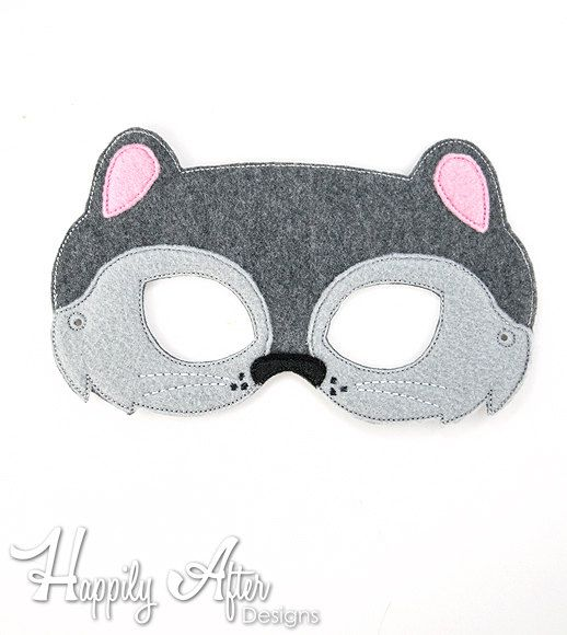 Squirrel Mask Embroidery Design squirrel by HappilyAfterDesigns
