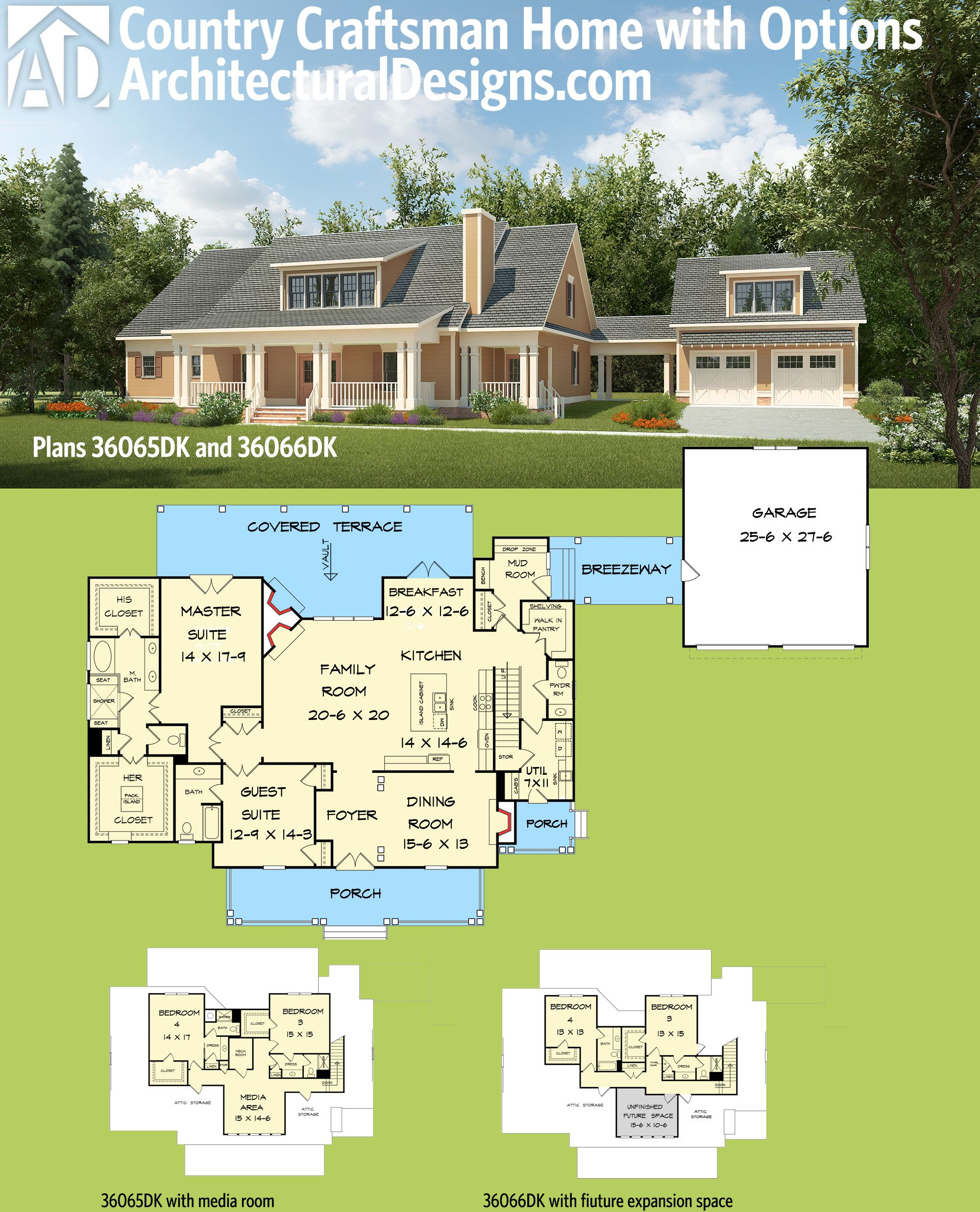 Plan 36065dk 4 beds and a breezeway architectural for House plans with future expansion