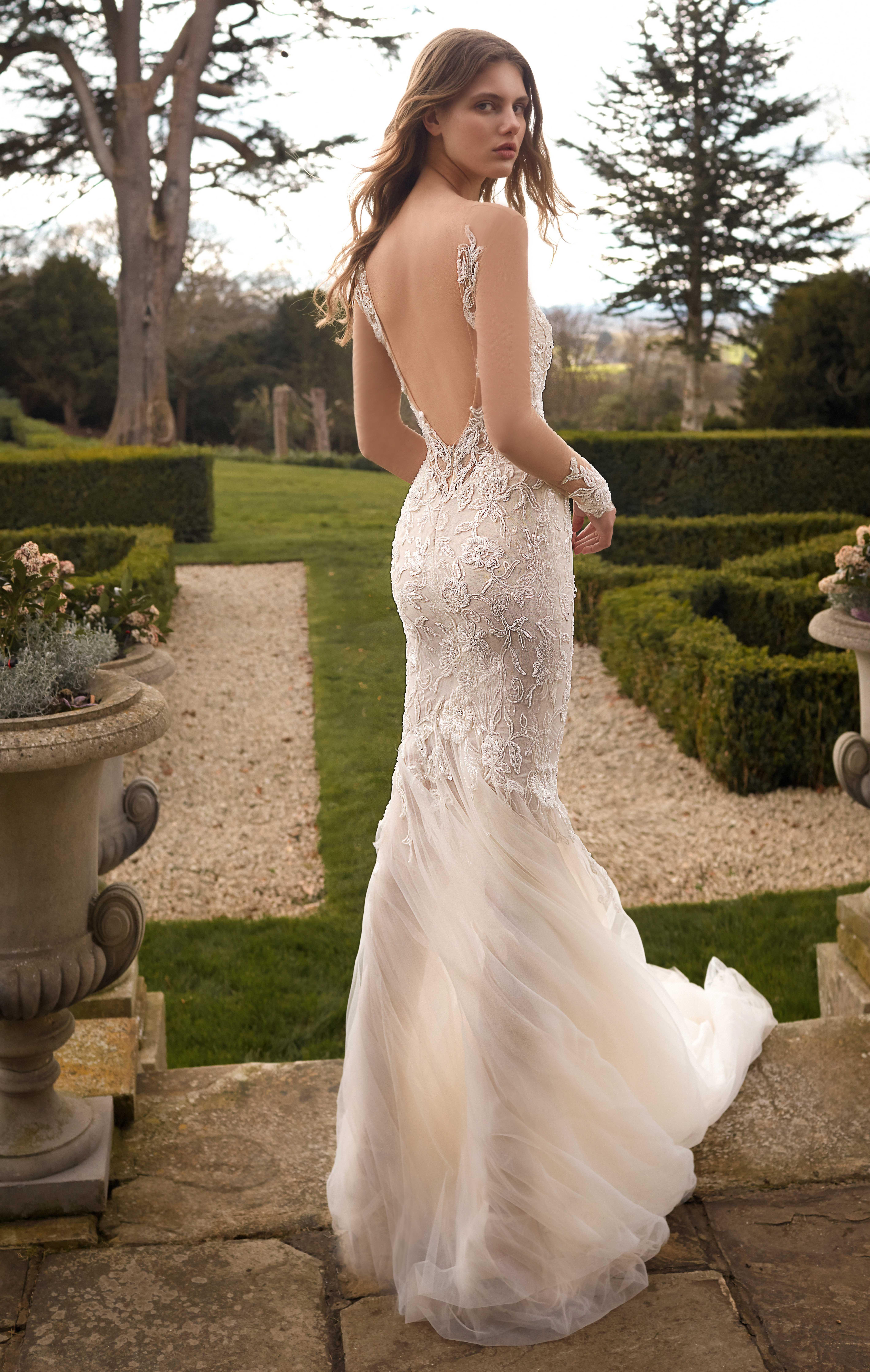 Galia Lahav Low Back Lacey Bridal Gown High Neck Long Sleeve Wedding Dress Sparkle Wedding Dress Mermaid Wedding Dress [ 8944 x 5675 Pixel ]