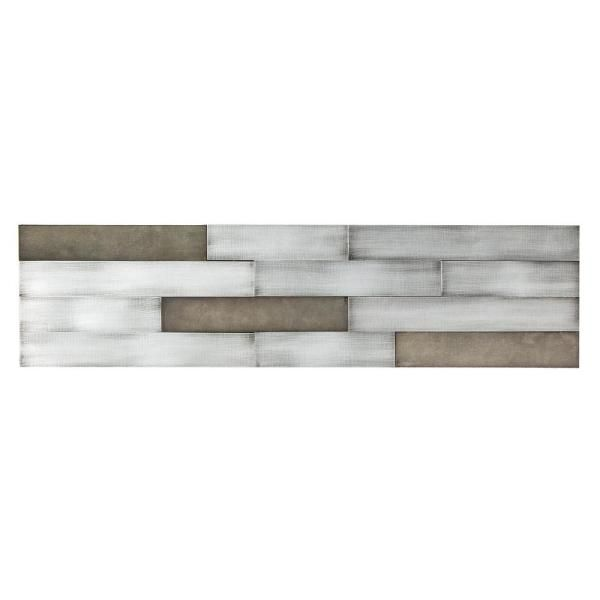 Aspect Distressed Peel And Stick 23 6 In X 5 9 In Metal Backsplash In Gilded Silver A60 10 The Home Depot In 2021 Metallic Backsplash Backsplash Panels Stick On Tiles