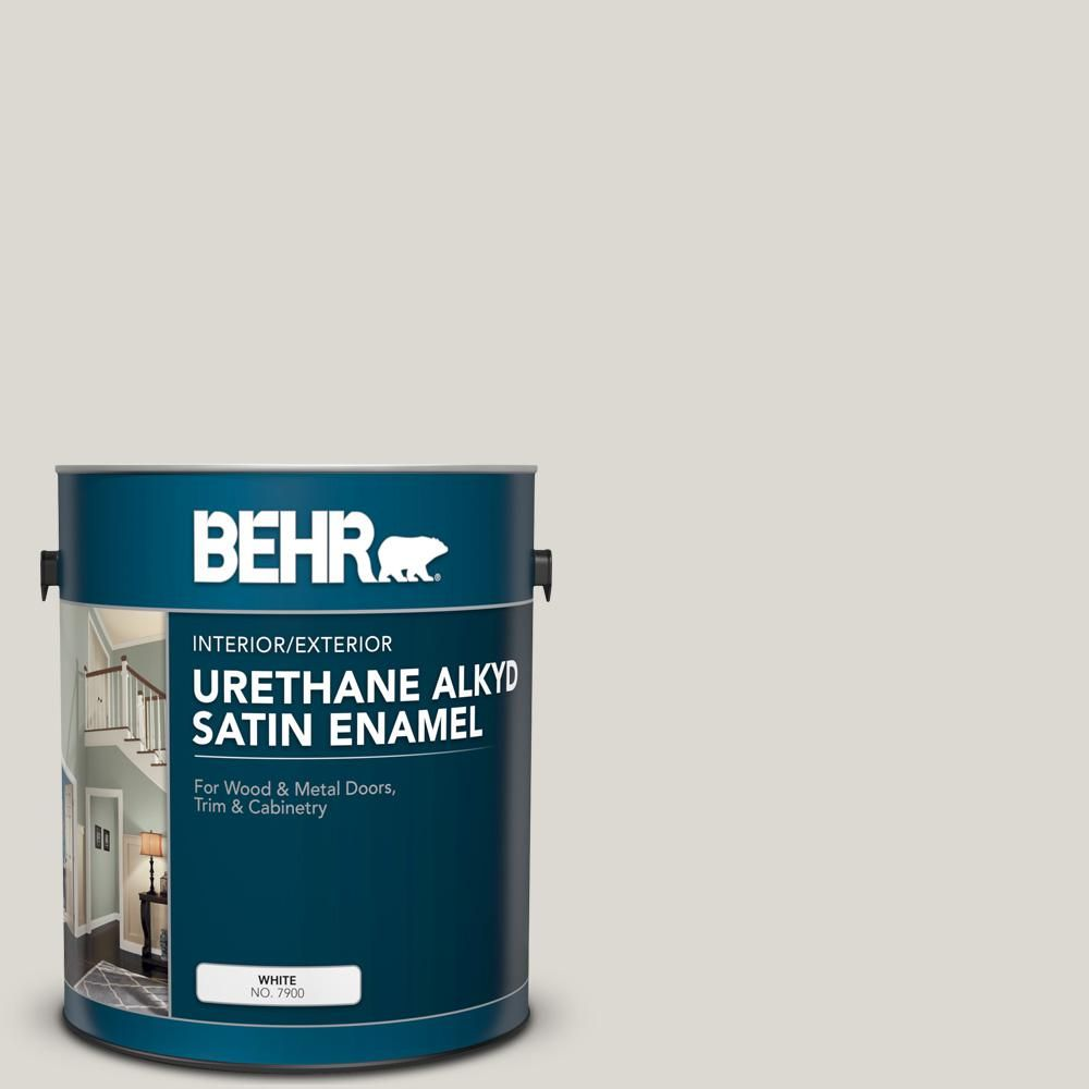 BEHR 1 gal. #790C-2 Silver Drop Urethane Alkyd Satin Enamel Interior/Exterior Paint-790001 - The Home Depot