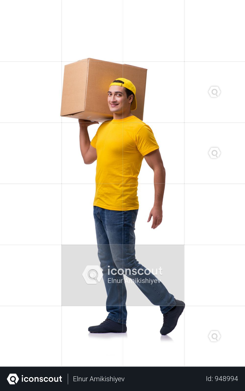 Premium Funny Delivery Boy With Box Isolated On White Photo Download In Png Jpg Format Boys Photo Funny