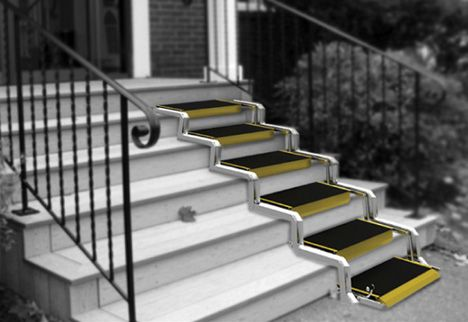 Stairs that convert to a ramp technology innovations for Handicap stairs plans