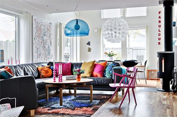 Living Room-Cozy Modern House Design with Colorful Interior Ideas ...