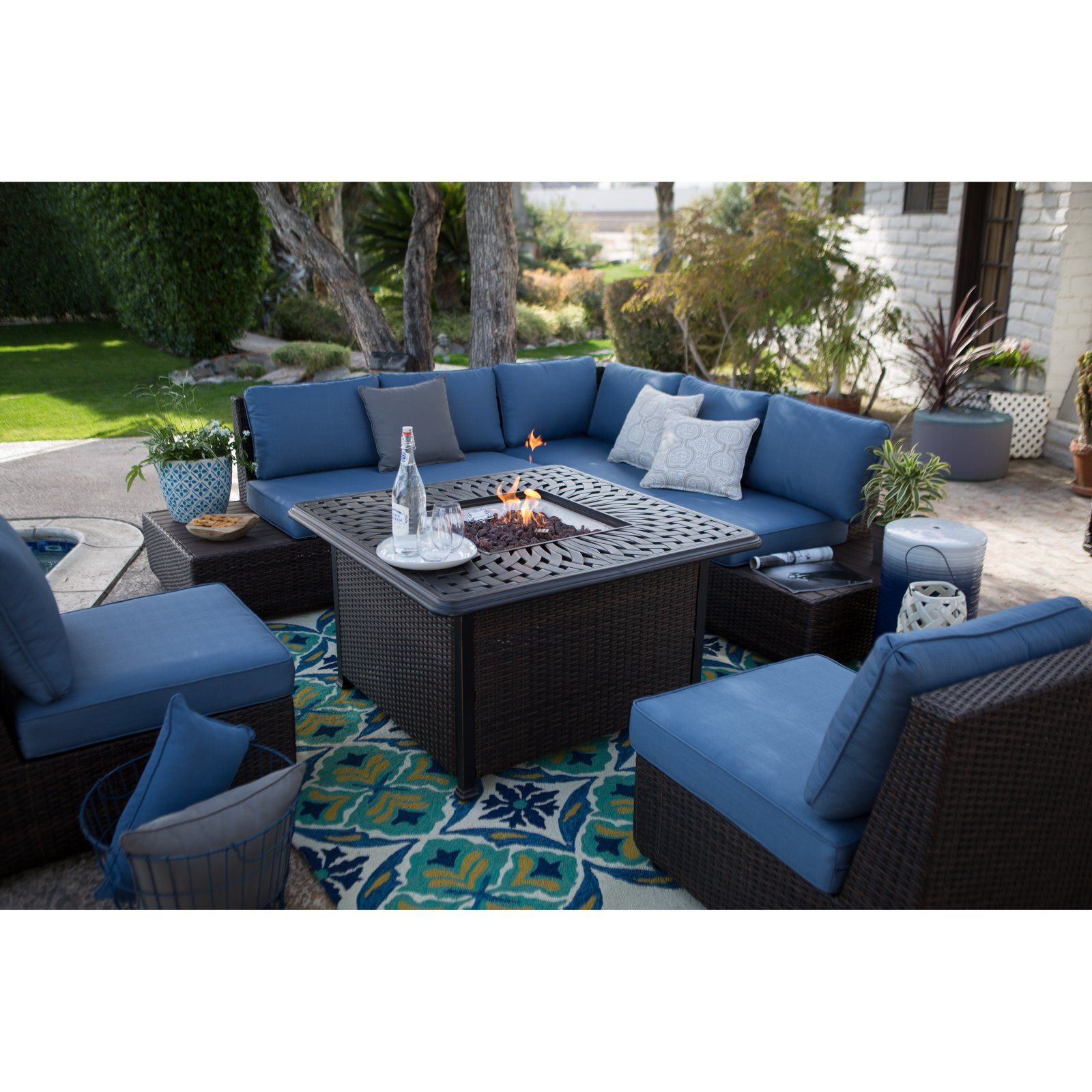 Outdoor Belham Living Luciana Bay Wicker Sofa Sectional Set With