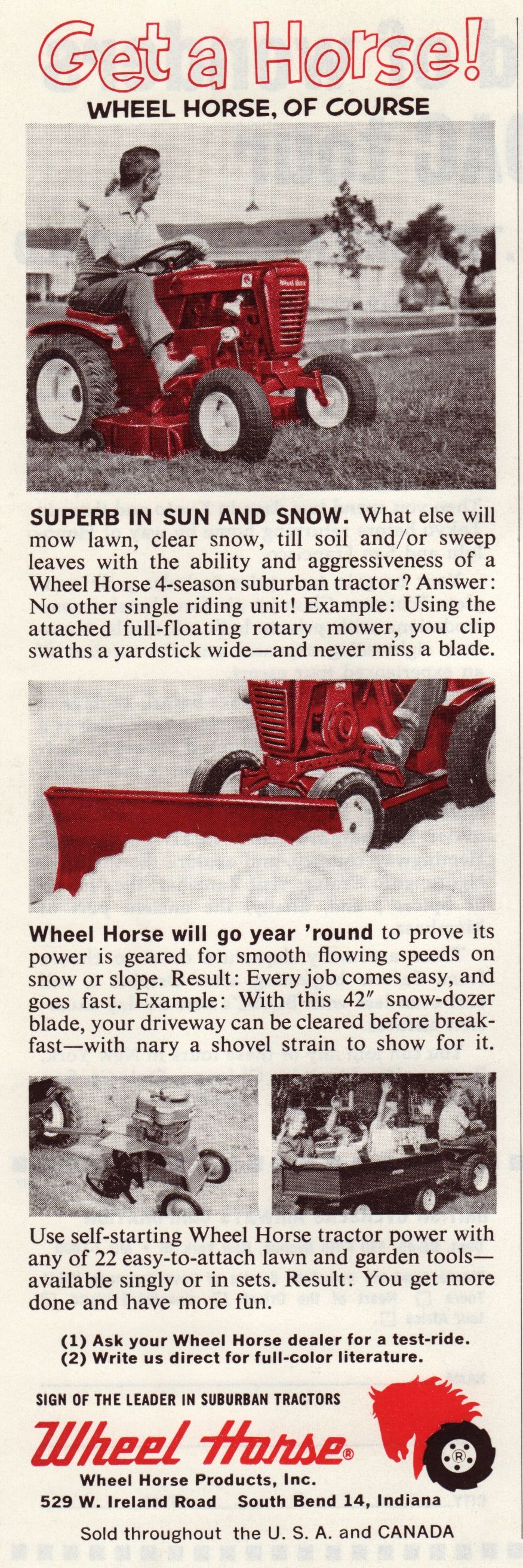 1963 Wheel Horse Retro Ads Wheel Horse Tractor Garden