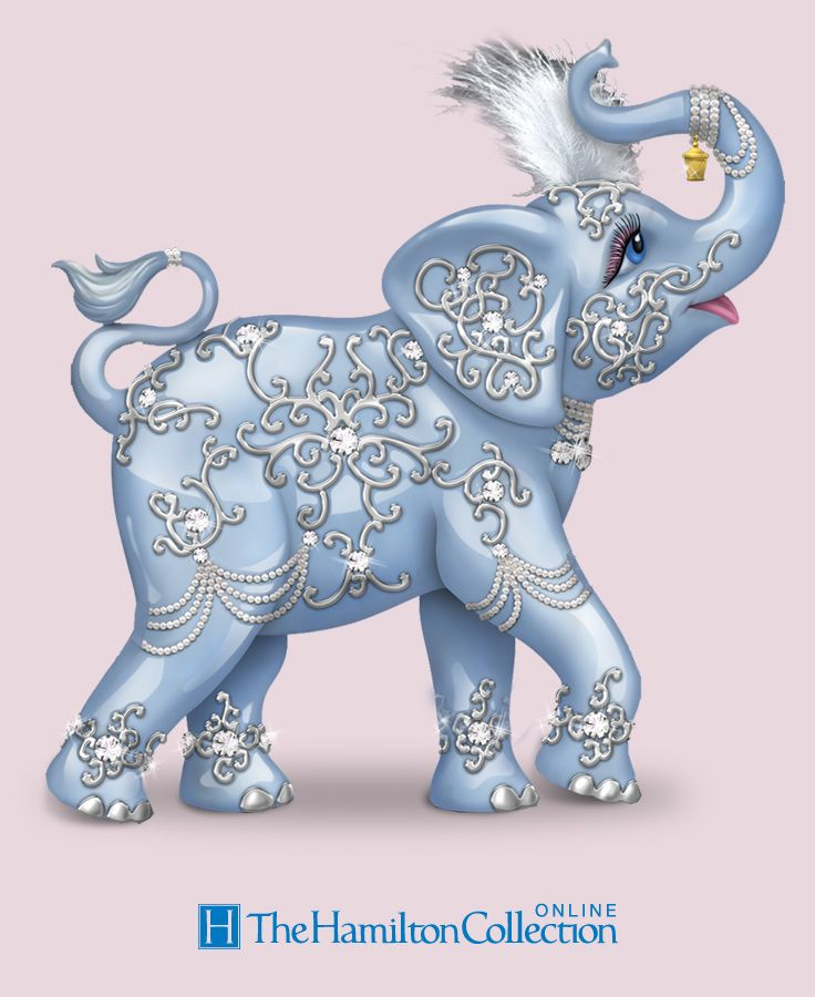 5d92bbdd8c3 Limited-edition, elephant figurine with bas-relief designs, faux gems,  feather, silvery accents, a Swarovski crystal, high-gloss finish and  lantern.