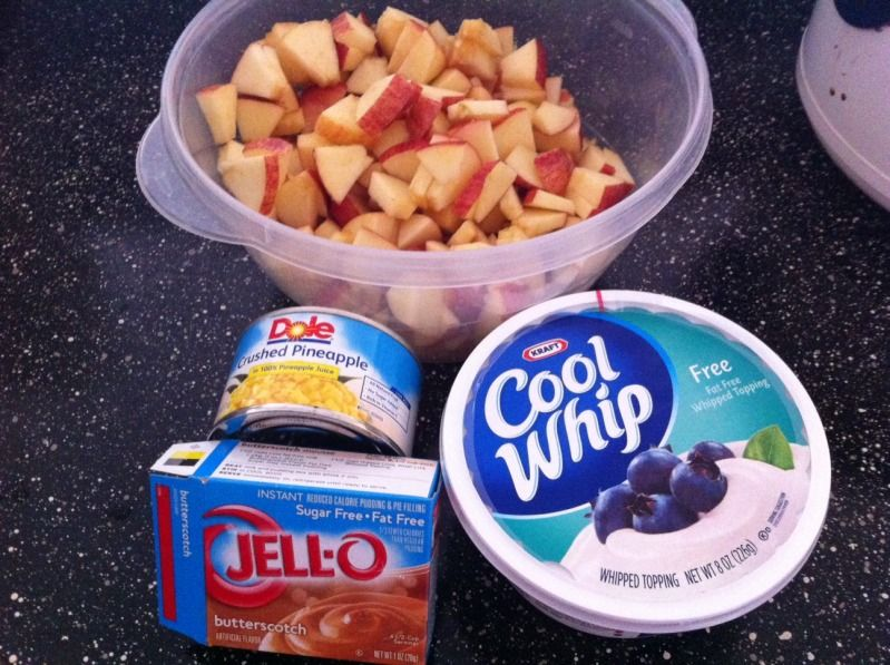 Caramel Apple Salad - 2 WW Points/serving    5 apples, cored and chopped  1 tub FF Cool Whip  1 package SF butterscotch pudding  8 oz crushed pineapple Mix together, chill and serve!